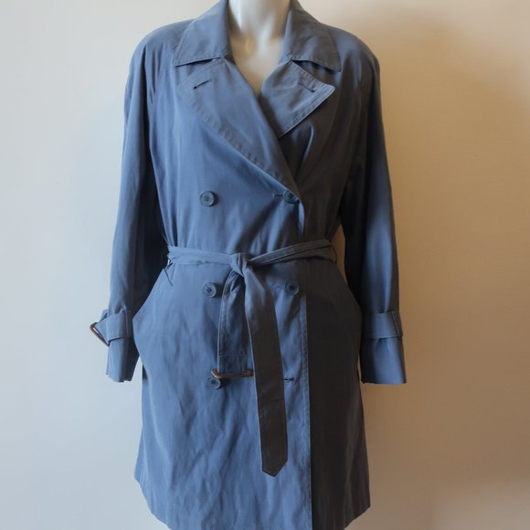 BURBERRY LONDON BLUE TRENCH JACKET 4 *